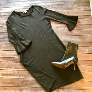 Calvin Klein trumpet sleeve work career dress